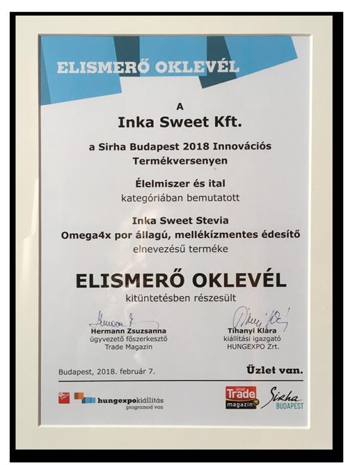 Inka Sweet Stevia Omega 4x - Sirha Innovációs Termékverseny Oklevél
